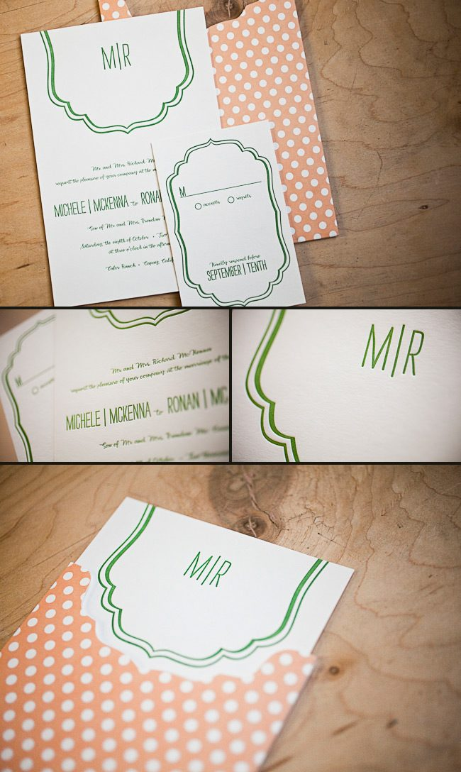 minimally letterpress wedding invitaions