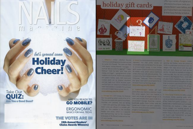 Nails magazine featured 2 of Smock's best selling holiday cards for 2011
