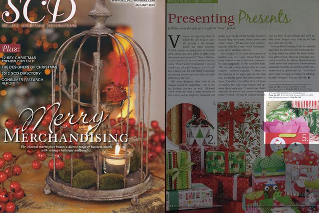 Selling Christmas Decorations Magazine featured Smock's holiday wrapping paper
