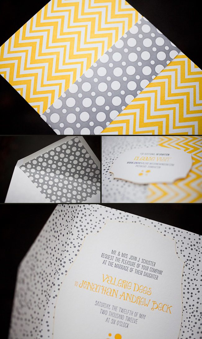 chevron graphic and modern letterpress wedding invitations