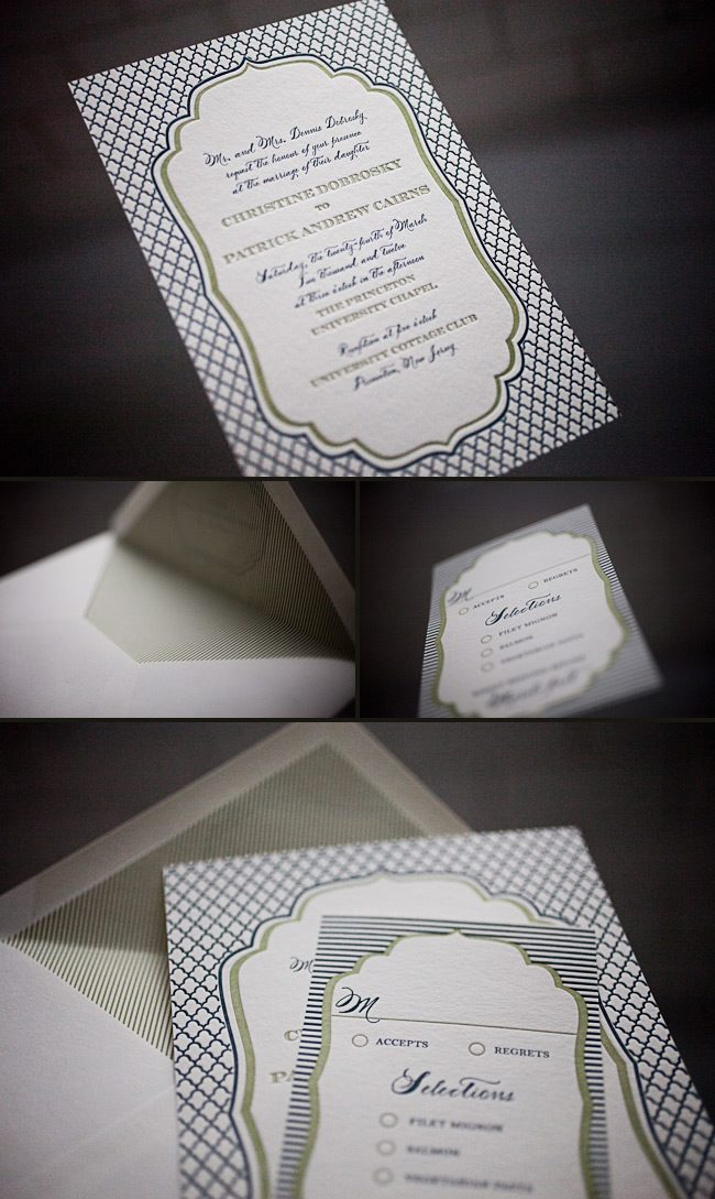 modern and sleek letterpress wedding invitations