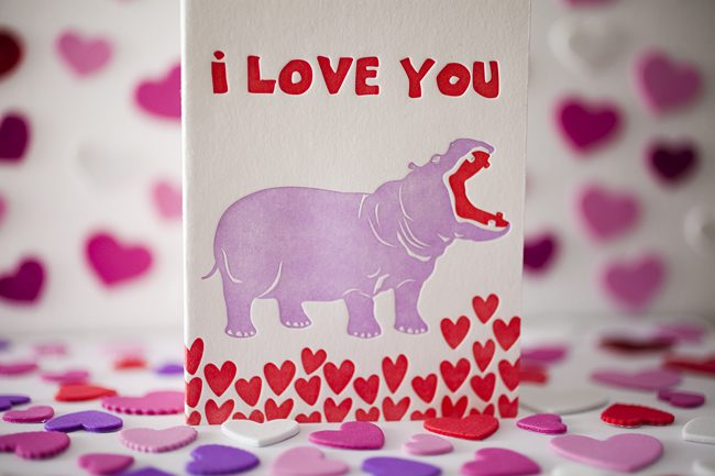 A whimsical hippo love card from Smock for 2012