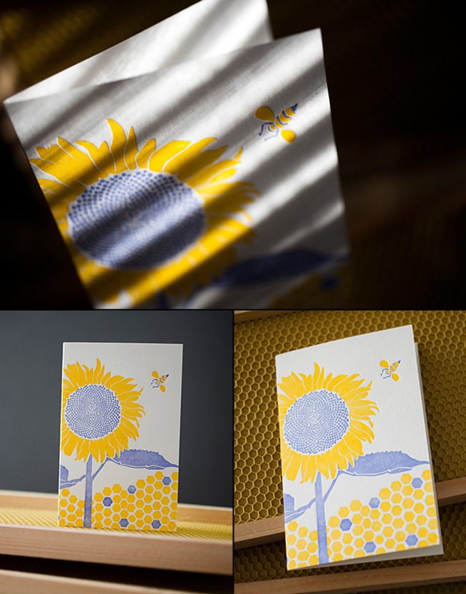 "Smock's first card in their ""Change the World"" letterpress card series, Sunflower. 100% of proceeds from the card sales will be donated to the Pesticide Action Network."