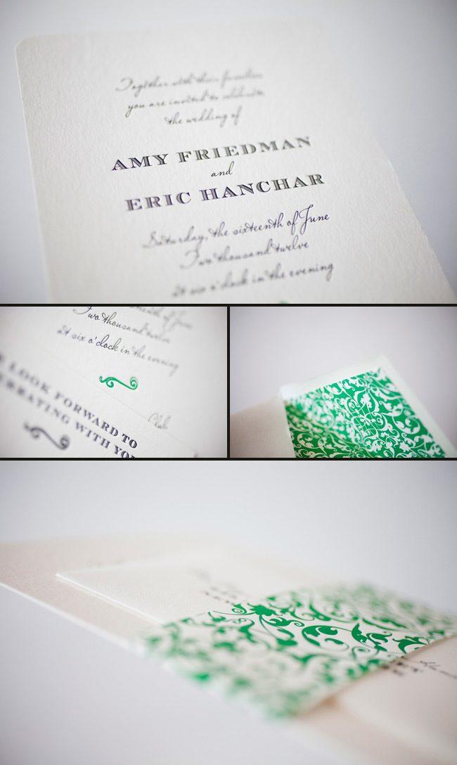 elegant letterpress wedding invitations