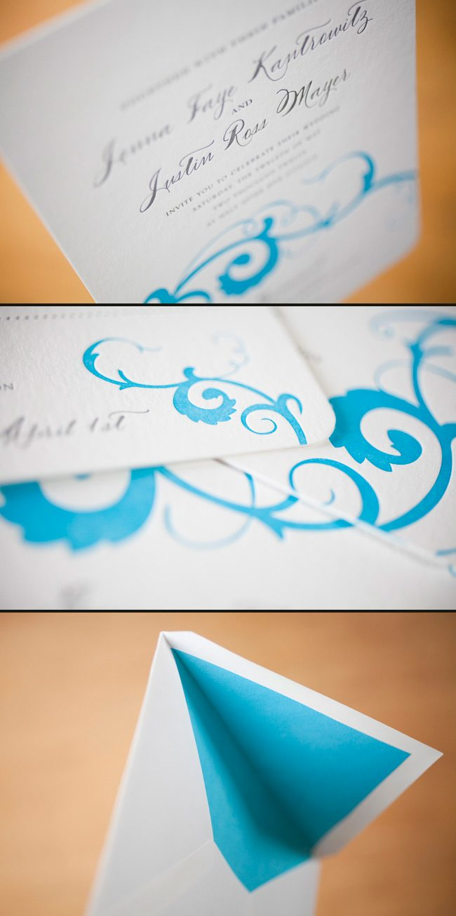 modern summer letterpress wedding invitations