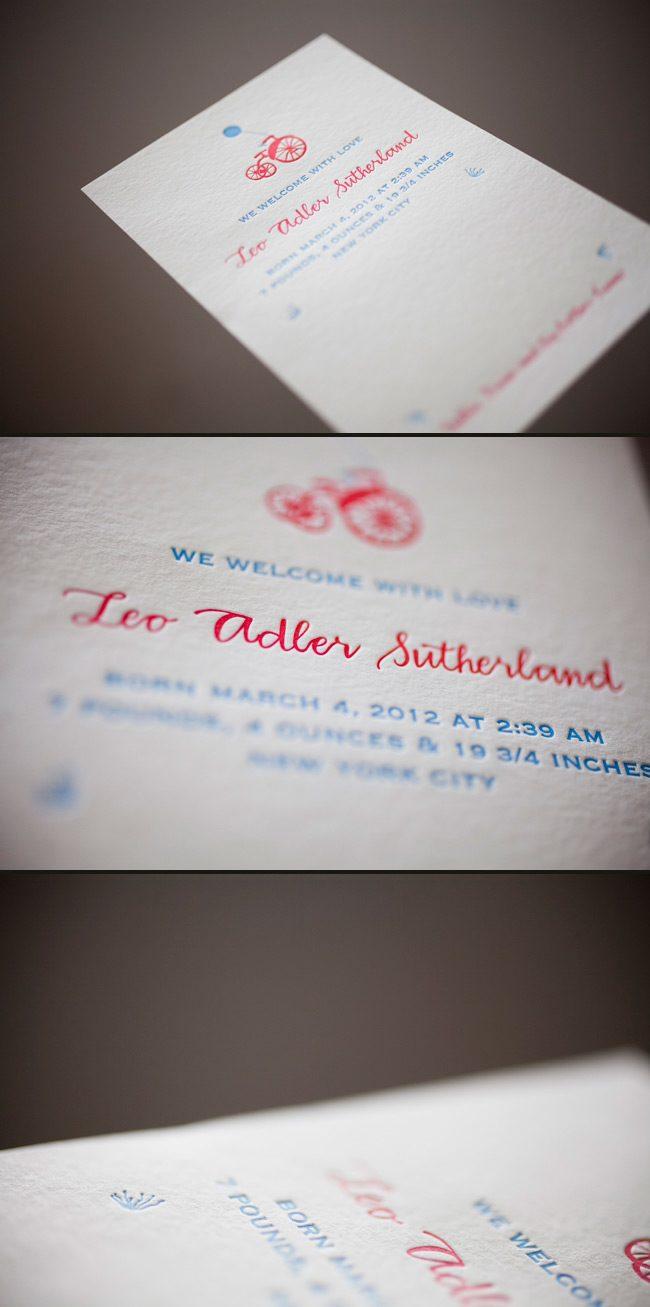 charming letterpress birth announcements