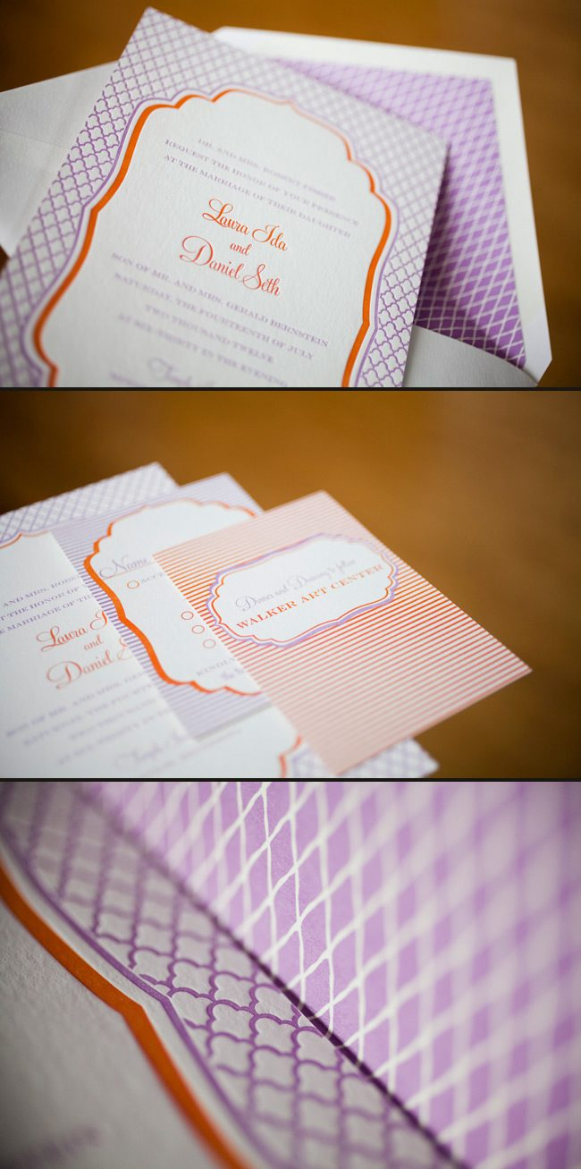 colorful summer letterpress wedding inviations