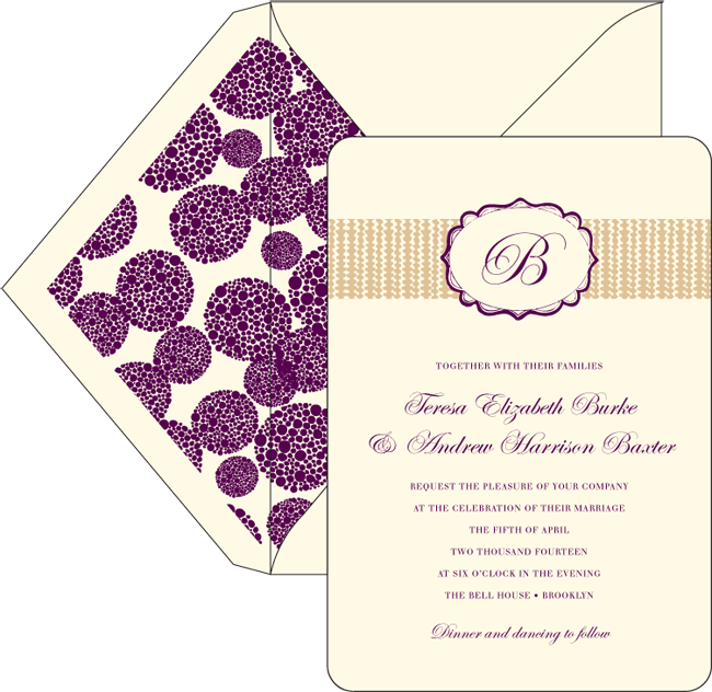 An elegant customization of the Odin letterpress invitation. Odin Letterpress from Smock is on sale now through May 14.