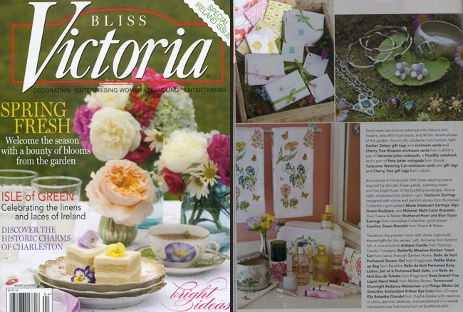 Victoria magazine featured several products from Smock's everyday line, including their Fete and Veranda jotters and Picadilly notebook