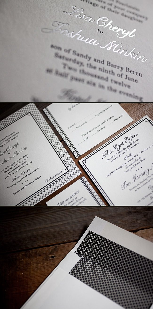 Letterpress + Foil Stamped Custom Wedding Invitations - Smock.