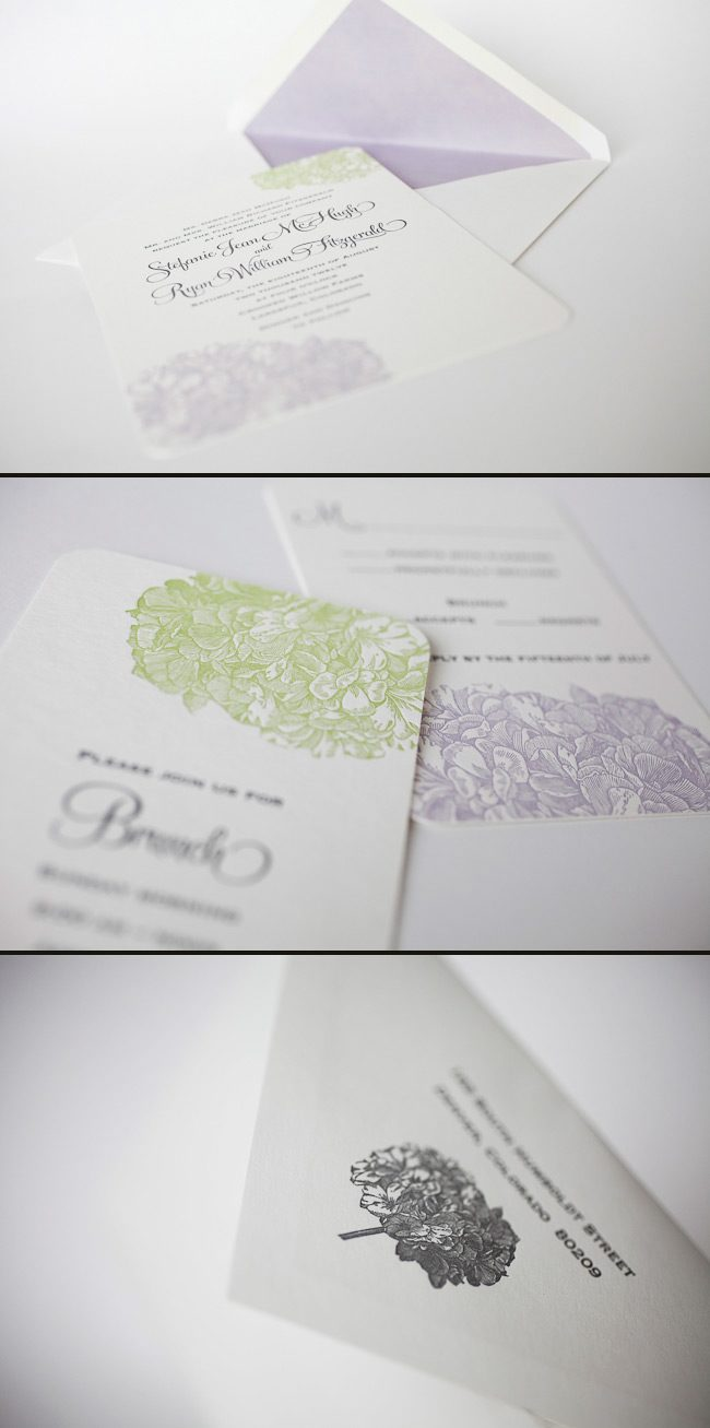This is a custom Smock letterpress wedding invitation printed in 3 colors.
