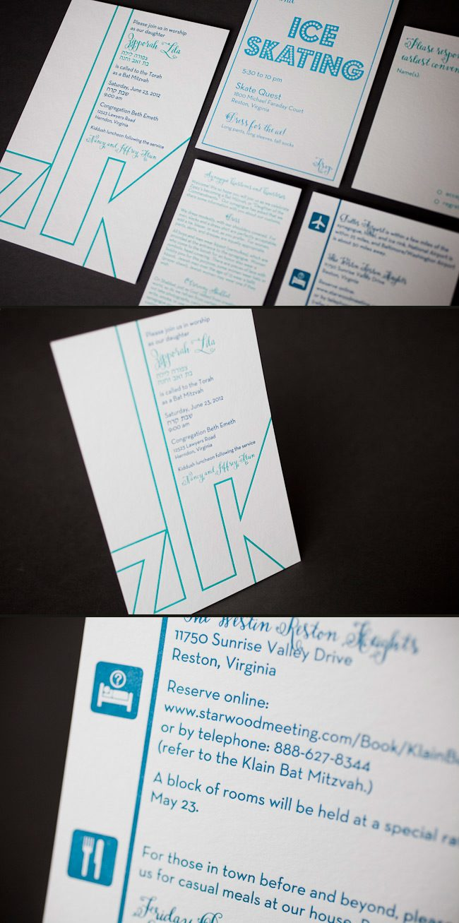 This is a custom modern Smock letterpress bat mitzvah invitation
