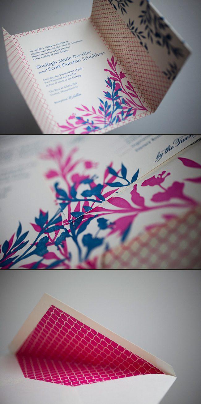 colorful letterpress wedding invitations