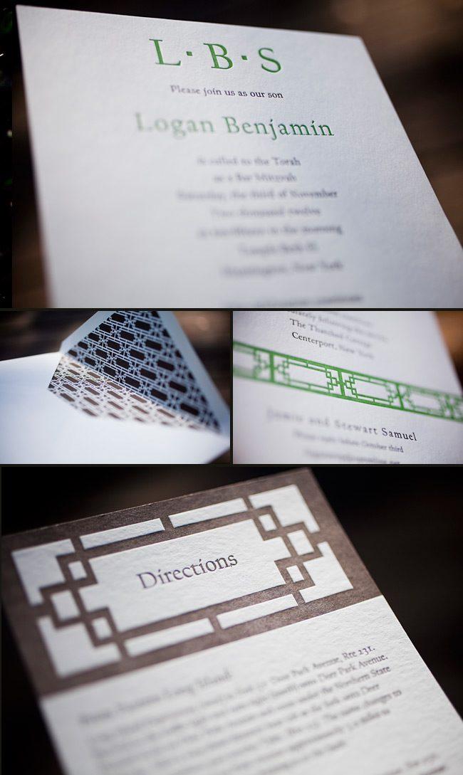 minimalistic letterpress bar mitzvah invitations
