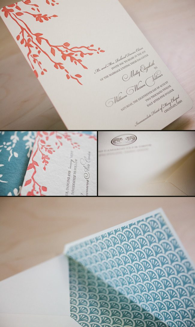 colorful letterpress wedding invitations