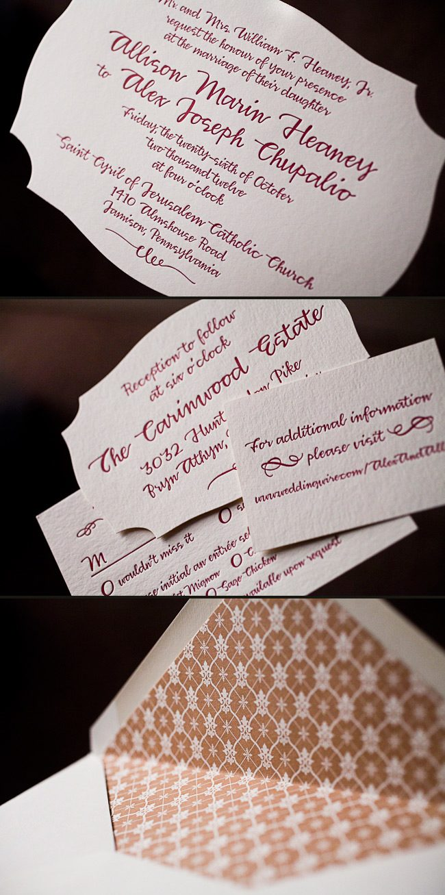 This is a custom invitations by Smock letterpressed in mulberry ink.