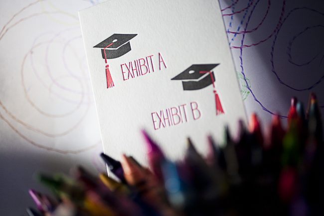 Letterpress graduation greeting card from Smock