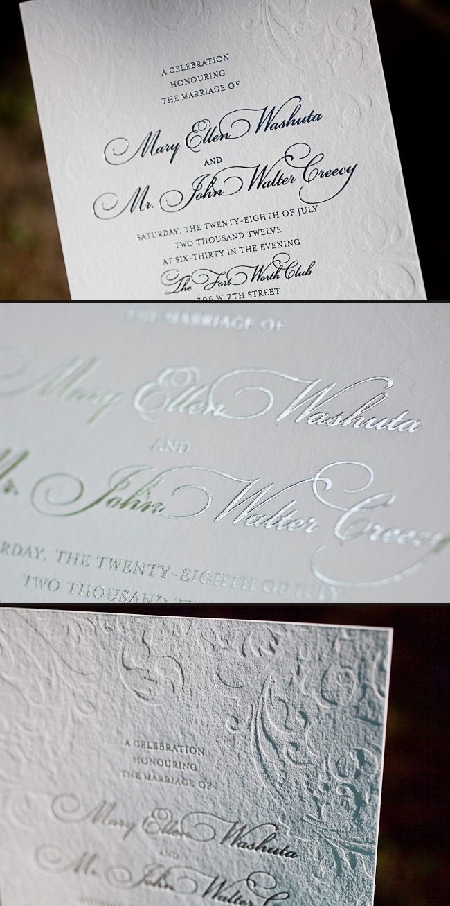Elegant Wedding Invitations - Silver Shine Foil Stamping + Inkless ...