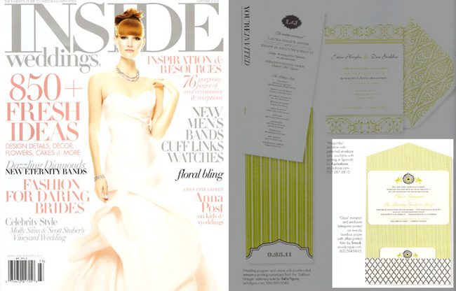 Letterpress wedding invitations from Smock were featured in the Summer 2012 issue of Inside Weddings