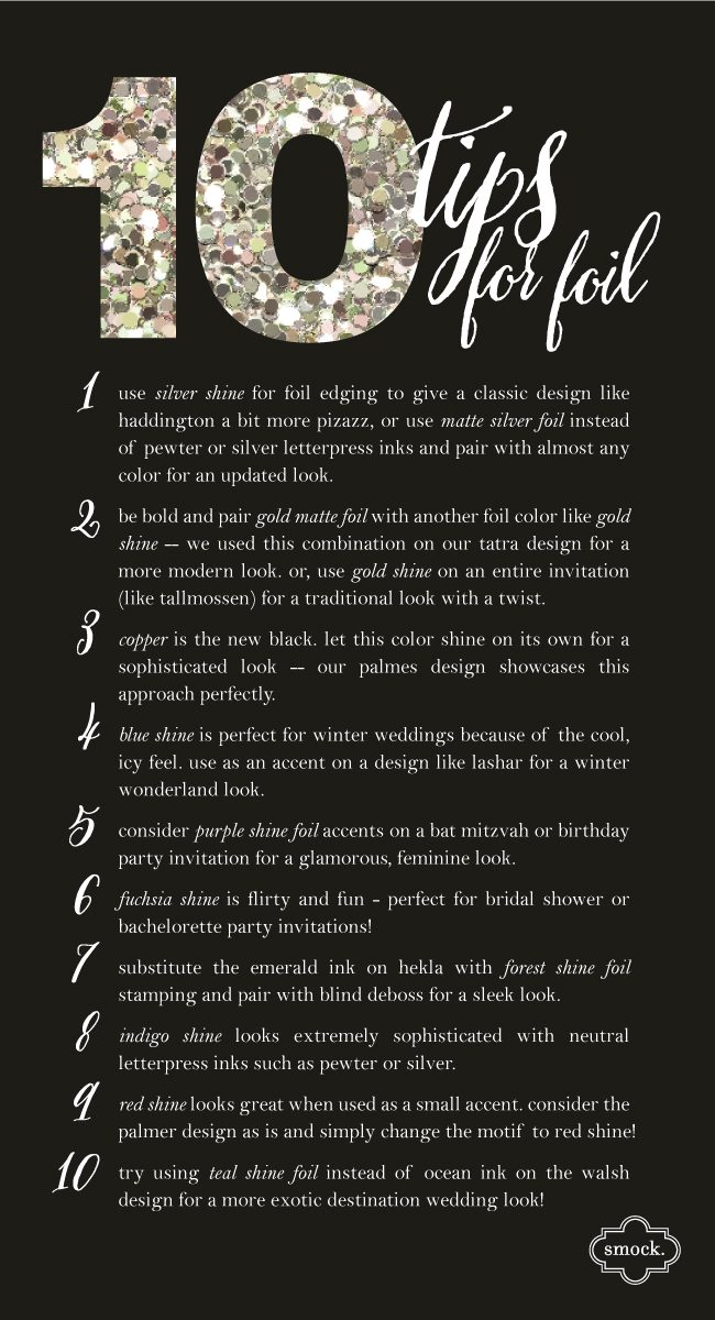 10 tips for using foil with Smock stationery + invitations
