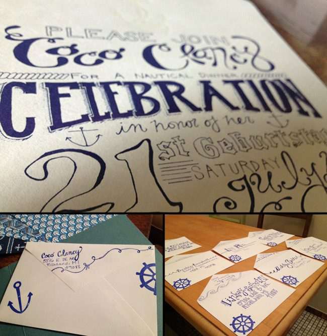 Nautical party invitations with hand lettering