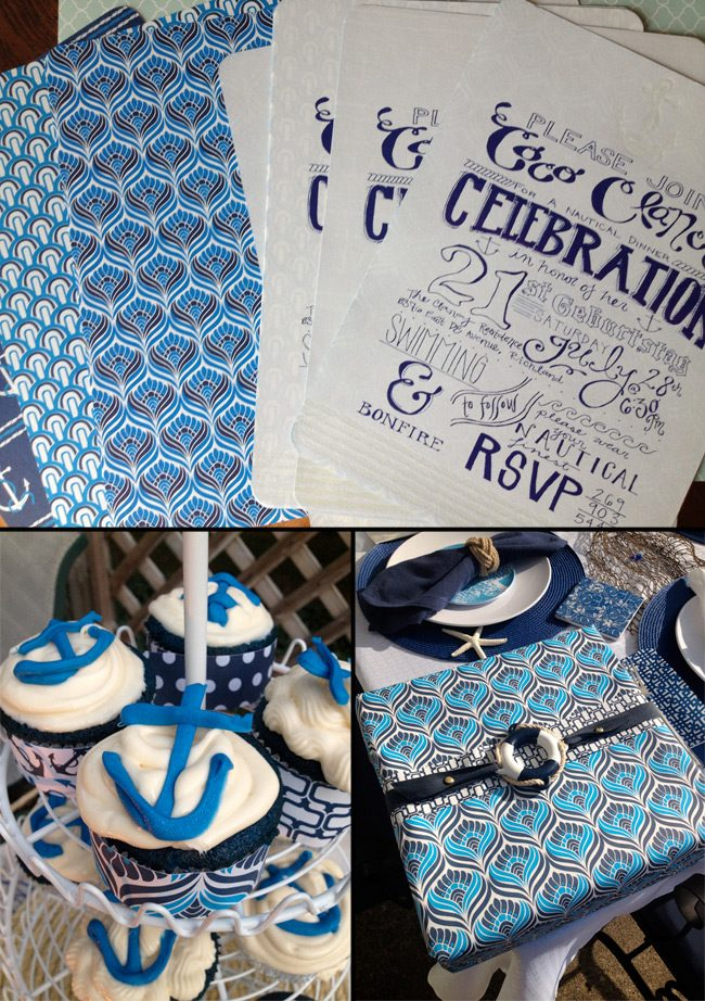 DIY nautical party invites, nautical cupcakes and nautical gift wrap!