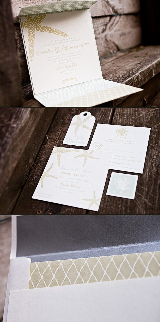 This nautical birthday invitation features both letterpress and offset printing