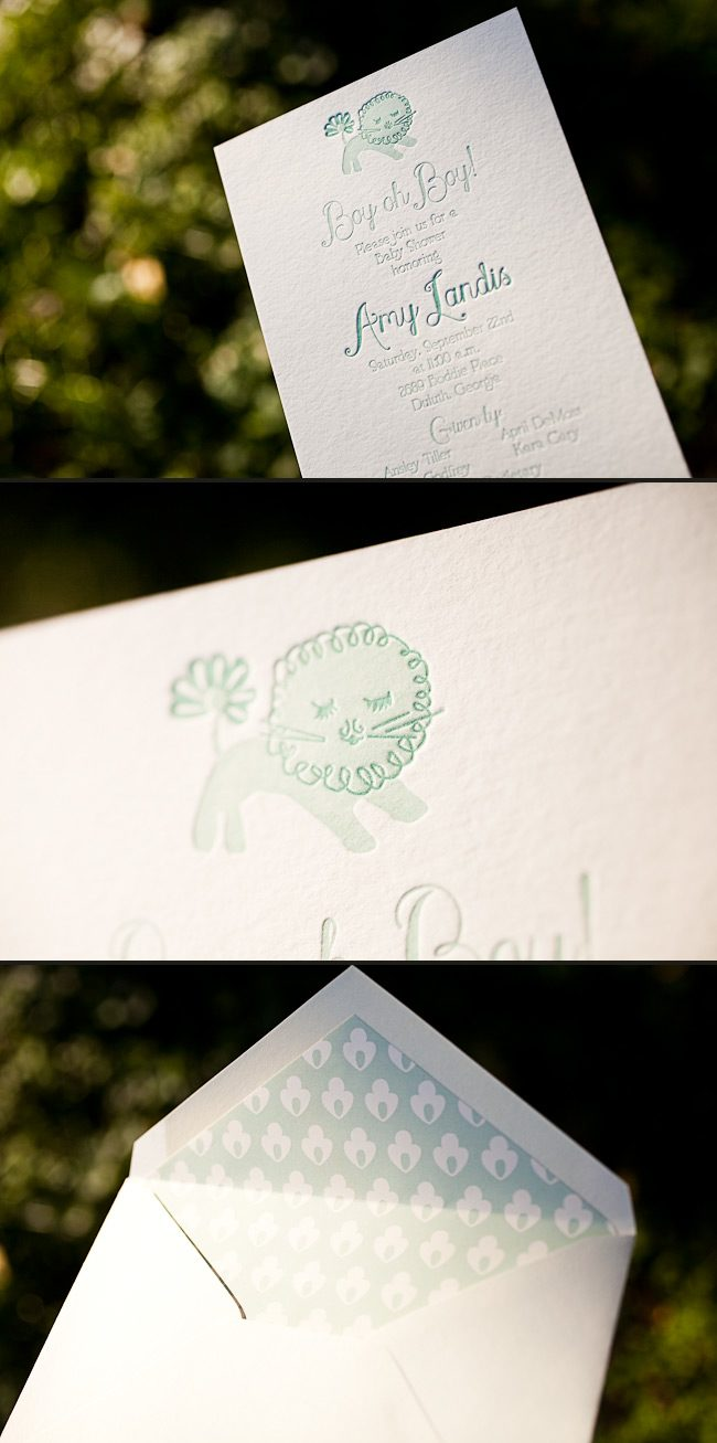 This charming and sweet baby announcement is letterpress printed.