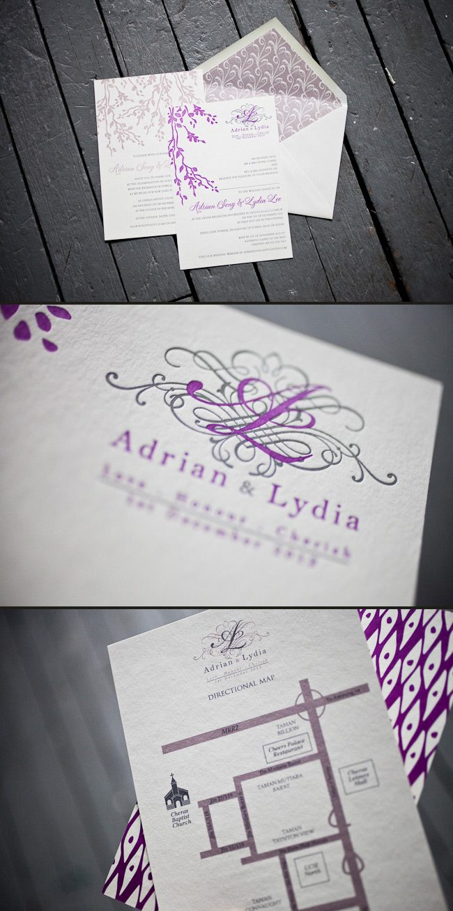 Letterpress wedding invitations in a soft and romantic color palette.