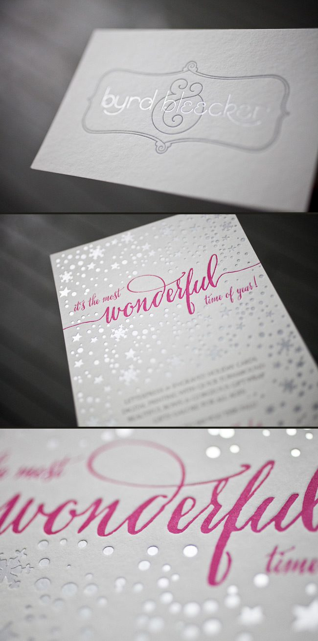 A combination of hot pink, espresso and silver foil make for gorgeous holiday cards.