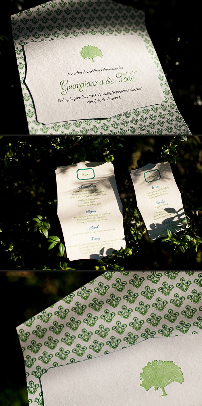 A gorgeous folio and tree motifs make this letterpress wedding invitation perfect