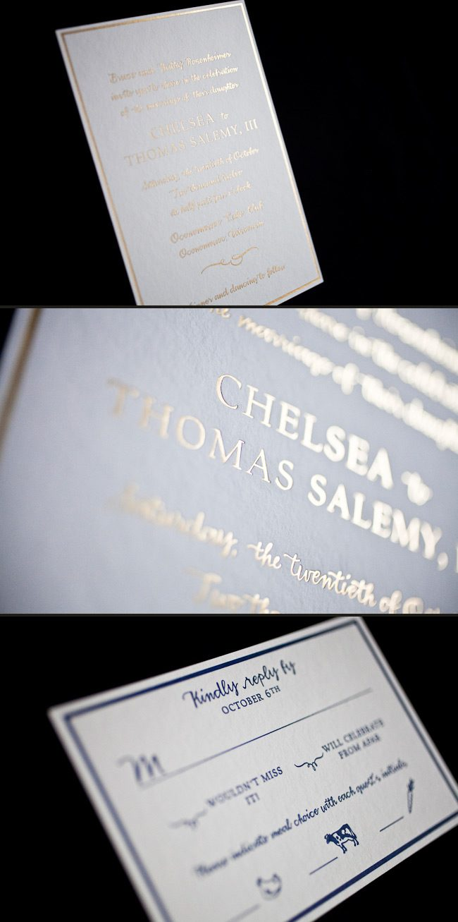 Letterpress and foil make this custom wedding invitation stand out