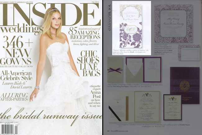 An invitation customization featuring Smock's Rhon and Dawson designs was featured in the fall 2012 issue of Inside Weddings