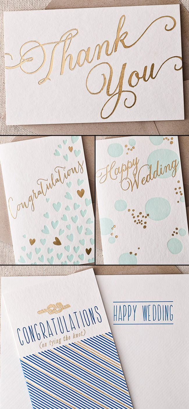 Thank you notes, congratulations and happy wedding cards with gold and silver foil are new from Smock