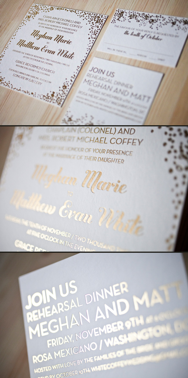 Foil stamped wedding invitations are unique and modern