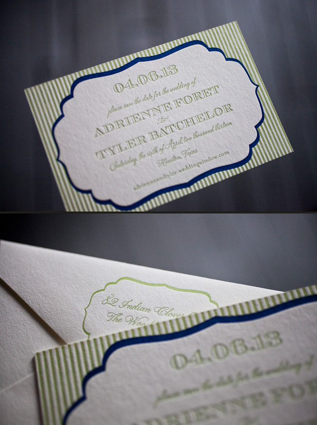 Custom letterpress save the dates from Smock