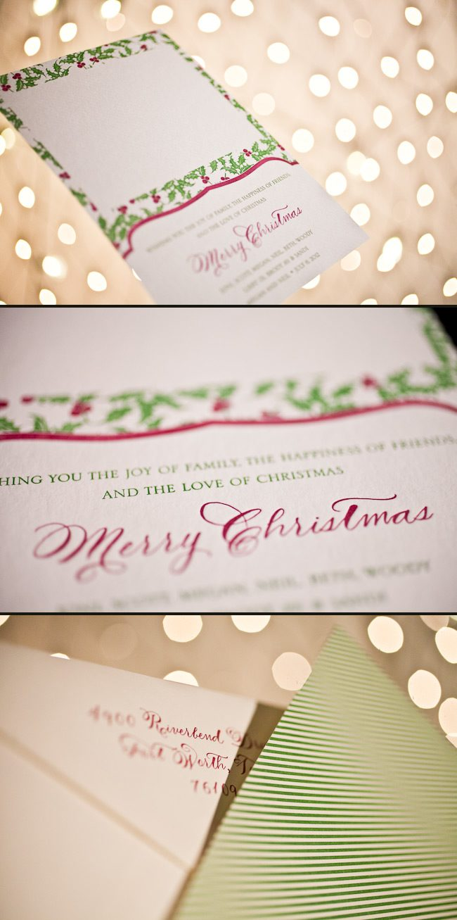 Letterpress Christmas cards in a colorful combination