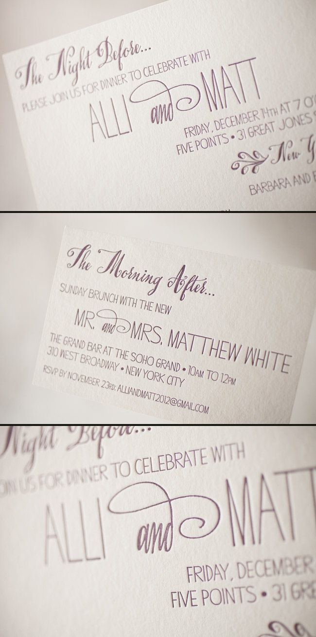 Rehearsal dinner and brunch invites are lovely letterpressed