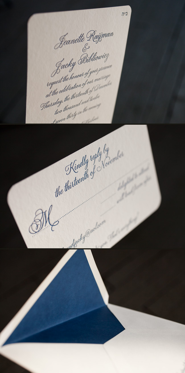 Fitzroy is customized in our striking navy letterpress ink