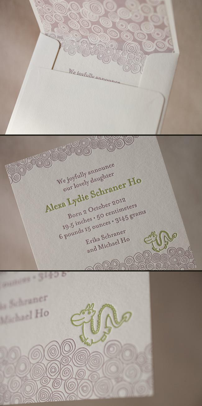 Make your letterpress baby announcements unique by adding sweet motifs