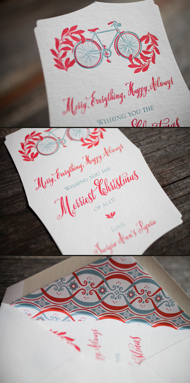 Eco friendly letterpress holiday cards
