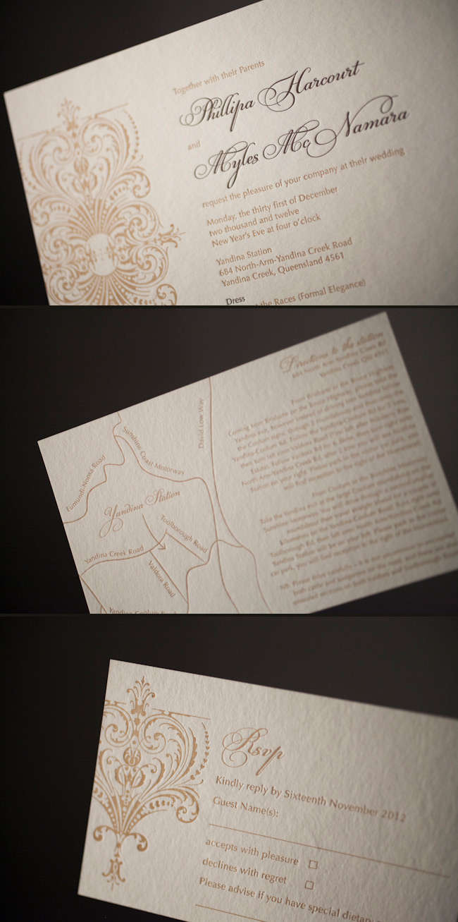 Elegant and regal letterpress wedding invitations in gold and espresso inks.