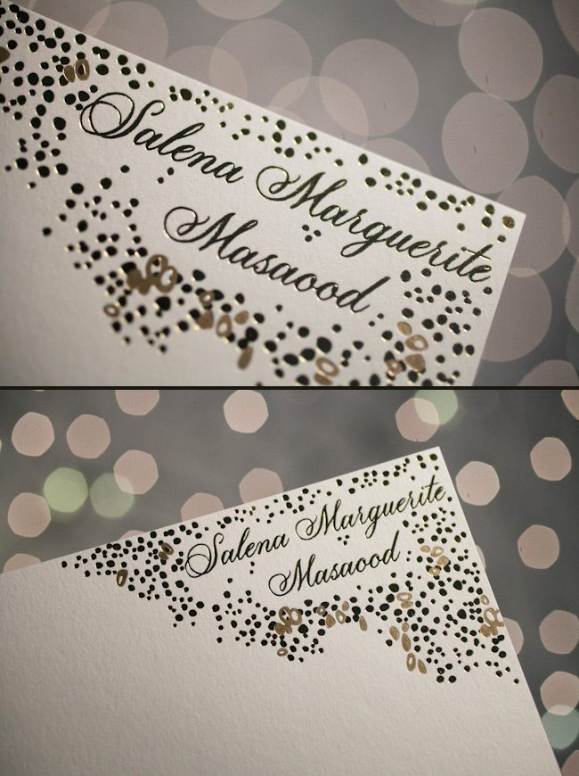 Thank you cards in gold foil