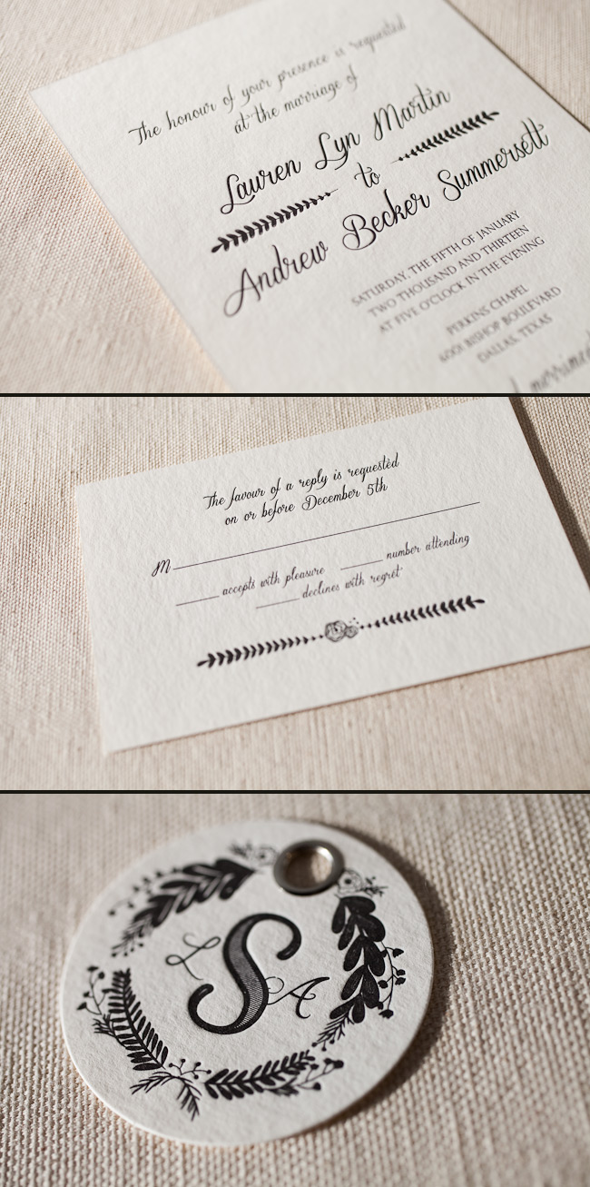 Letterpress wedding invitations with custom artwork