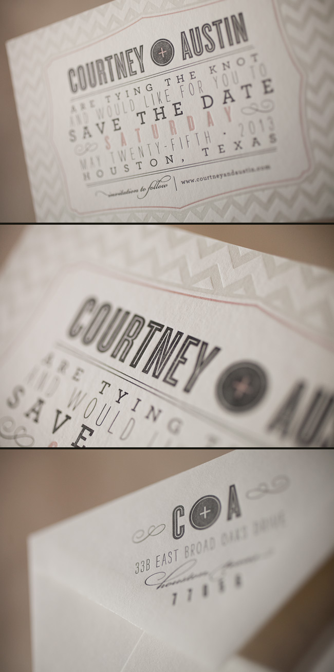 Trendy chevron letterpress wedding save the dates