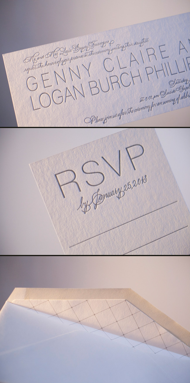 Silver metallics look lovely letterpressed