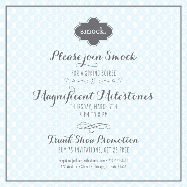 Smock is teaming up with Magnificent Milestones on Thursday, March 7 for a trunk show.