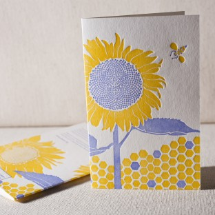 Sunflower letterpress cards