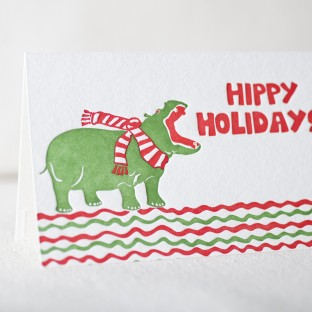 Hippy Holidays letterpress cards