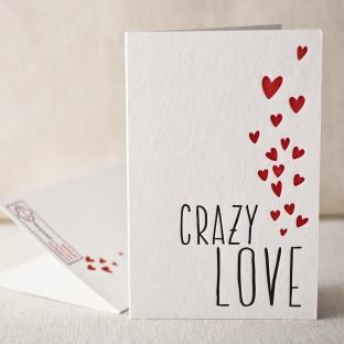 Crazy love letterpress card